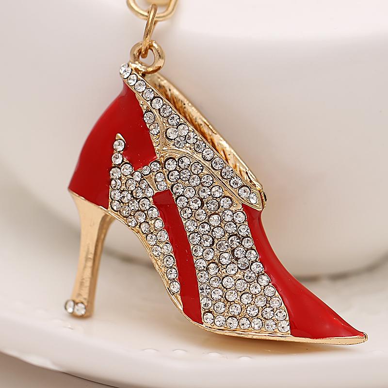 Creative High-heeled shoes keychain fashion rhinestone shoe key holder charm bag crystal keyring women handbag accessory gift(China (Mainland))