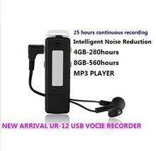FreeShipping UR-12  Mini 8GB SPY USB Disk Digital Audio Voice Recorder with headphone high sensitive voice recorde