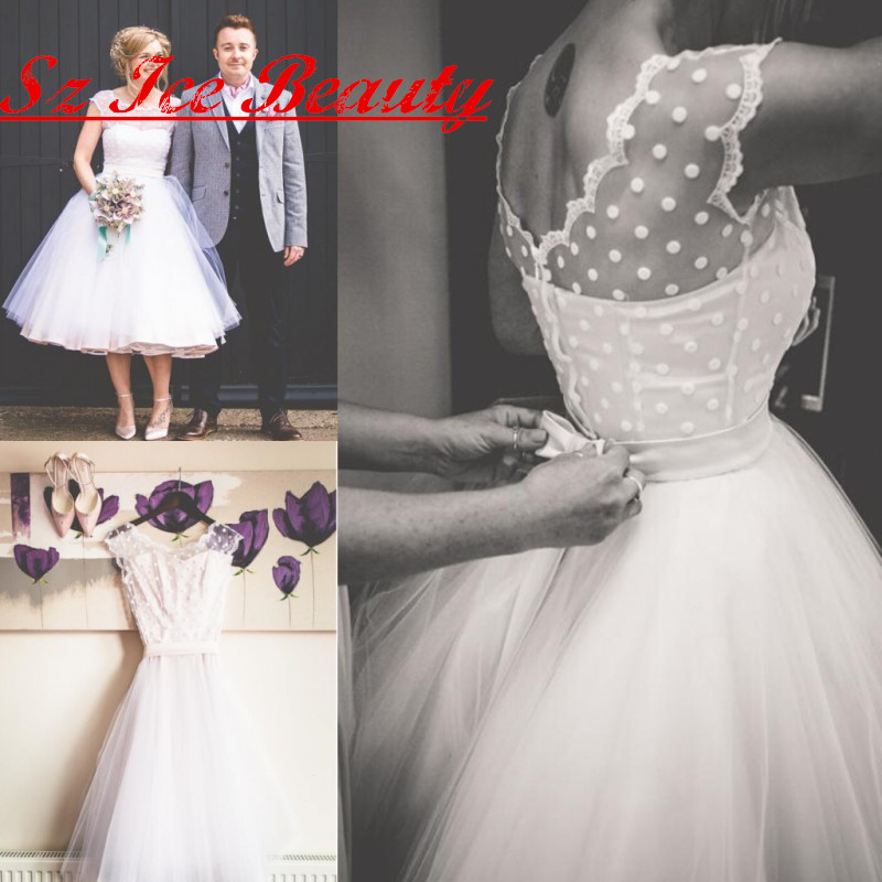Hot sale cheap short wedding dress with polka dotted tea for Cheap short white wedding dresses