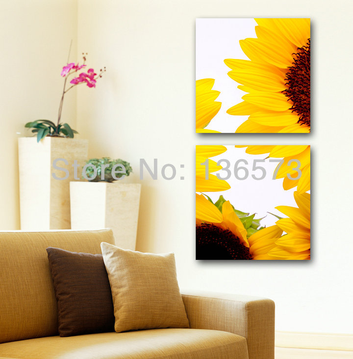 Hand painted yellow sunflower wall decor oil paintings on for Modern home decor pieces