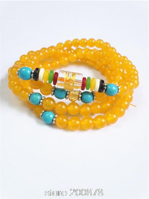 BB-037 Buddhist 108 prayer beads mala Natural Agate Rosary Necklace 6mm natural stone girls bracelet(China (Mainland))