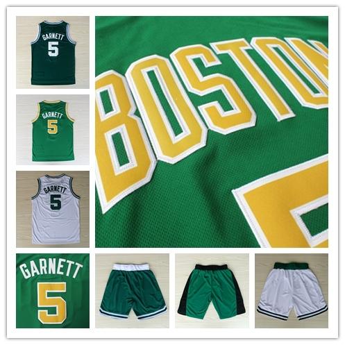 Cheap Boston #5 Kevin Garnett Jersey Green White Vintage REV 30 Embroidery Basketball Shirt Jersey & Shorts(China (Mainland))