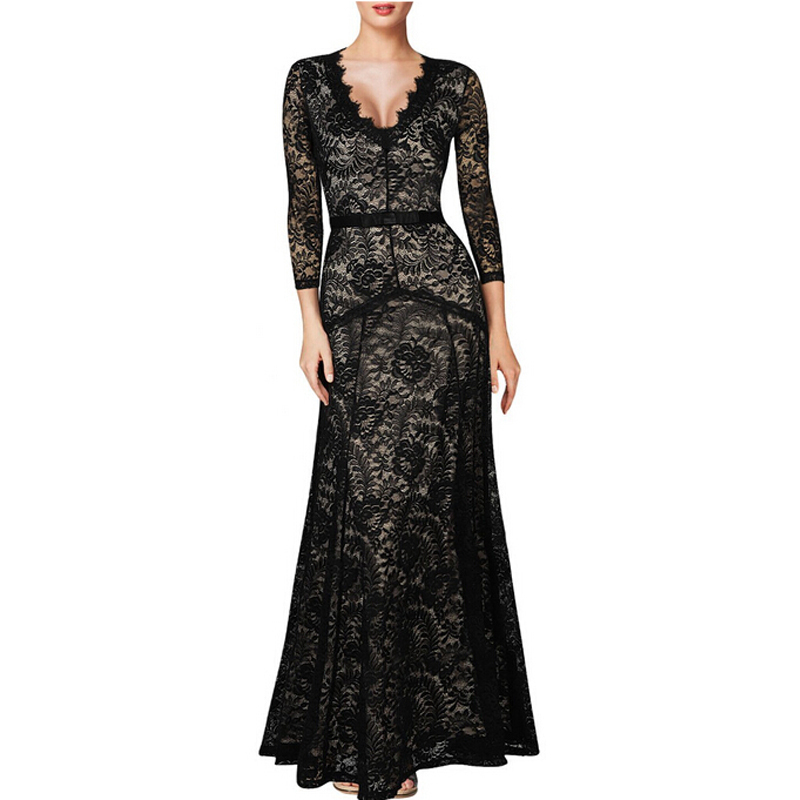 New slim floral lace 2 3 sleeve long dress sexy v neck for Long sleeve slim wedding dresses