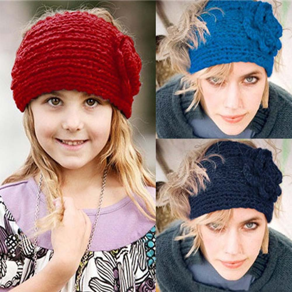 Fashion Women Winter Flower Headband Knitted Crochet Woolen Ear Warm Turban Hair Band Headwrap For Girl(China (Mainland))