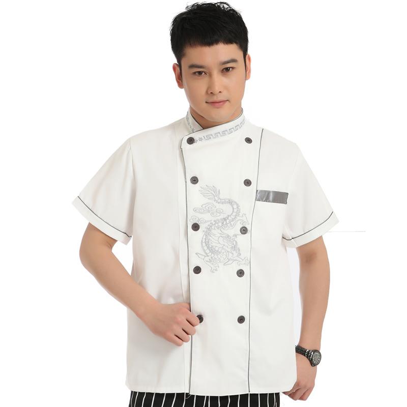 [10 pcs] cook work wear clothing short-sleeve top uniform work wear chocolate master uniforms chef wear free ship wholesale(China (Mainland))