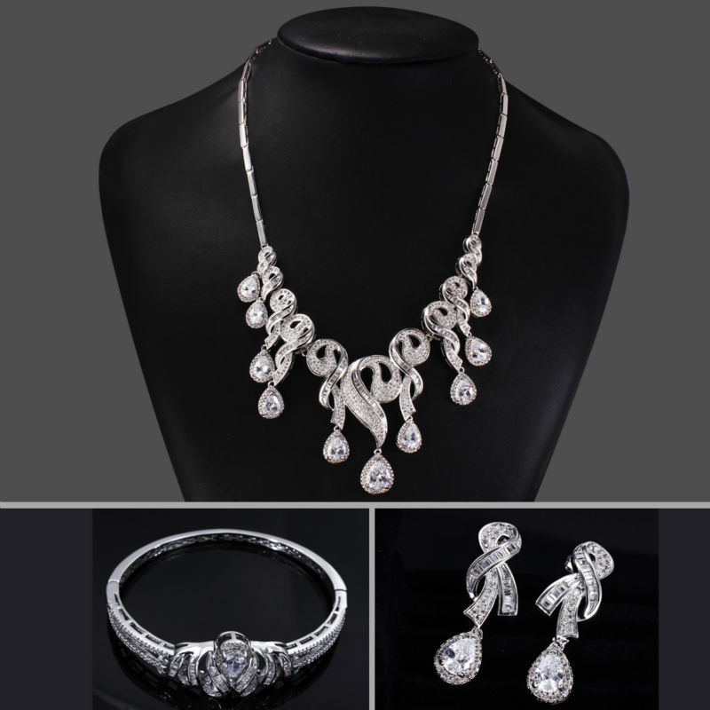 New Arrival Bridal Deluxe Wedding White Cubic Zirconia Jewelries Set (Necklace Bangle Earrings &amp; Ring) Platinum Plated Lead Free<br><br>Aliexpress
