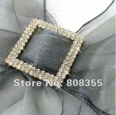 Free shipping--10pcs A-GRADE Gold Double Row Square Diamante Rhinestone Big Buckle For Organza Chair Sash Wedding Favor Decor(China (Mainland))