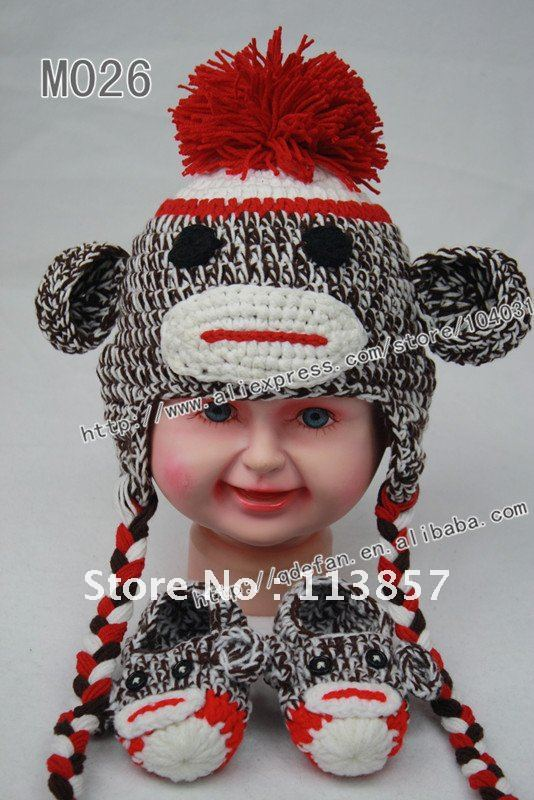 Free Knitting Pattern Baby Animal Hat : Free shipping (10pcs/) 100% cotton crochet Baby booties ...