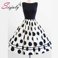Sisjuly Elegant Sleeveless A-Line Knee Length Dress Color Block Polka Dots Plaid Women's Vintage Dress(China (Mainland))