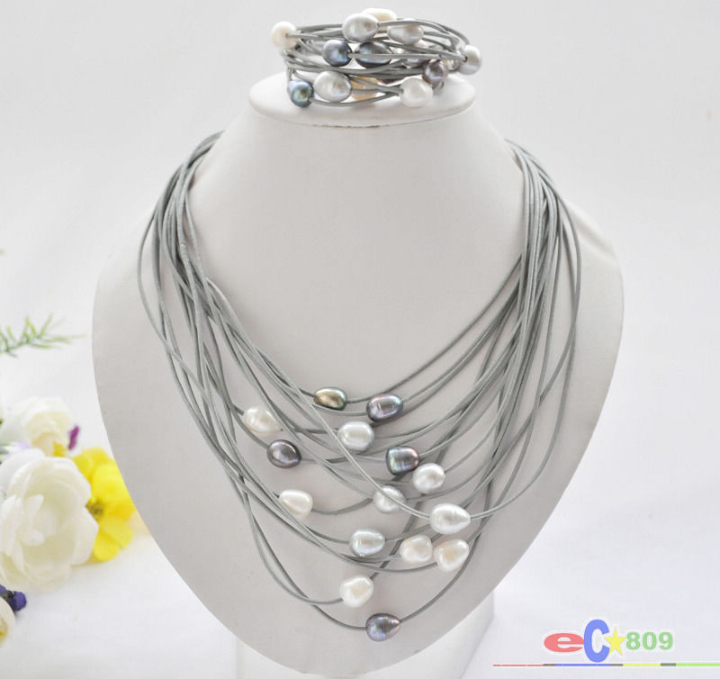 wholesale 15row 13mm black white gray rice pearl gray leather necklace & bracelet