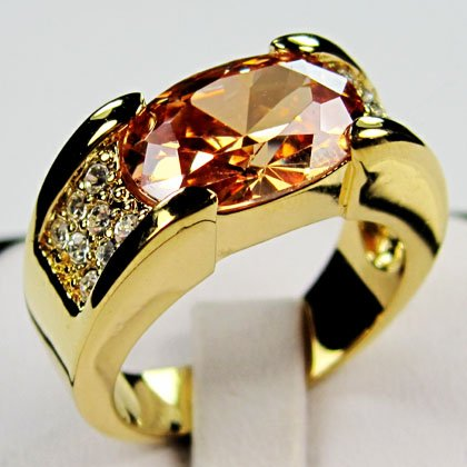 Newest 2014 Exquisite Men Jewelry Champagne Topaz Rings 10KT Yellow Gold Rings Gift Box Size 9/10/11/12 Free Shipping B0589-593(China (Mainland))