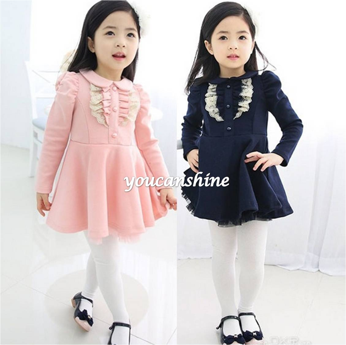 2016 New Kids Baby Girls Princess Lace Turn Down Collar Button Down Tops Preppy School Party Pleated Dress 2-7T<br><br>Aliexpress