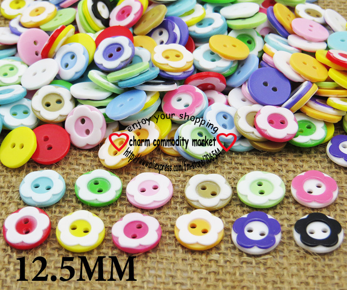 100PCS color flowers children resin button for KIDS clothes accessory jewelry charms P-071(China (Mainland))