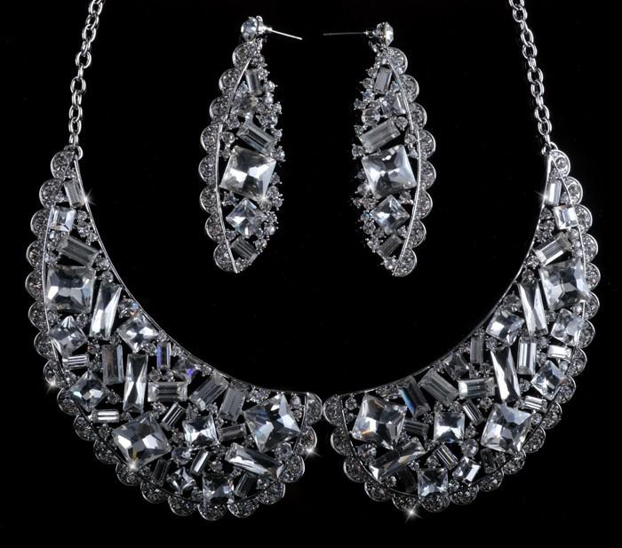 Bridal necklace sets Fashion Brand Chinese Traditional Wedding Party Chunky Costume Jewelry Set Elegant Rhinestone choker