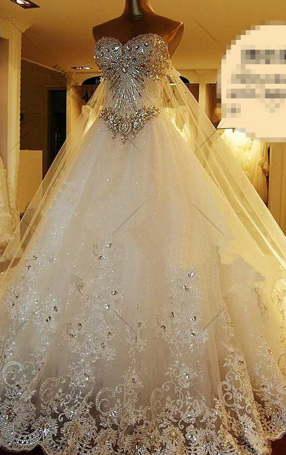 2016 new bandage tube top crystal lace sweetheart luxury for Best wedding dress stores in los angeles