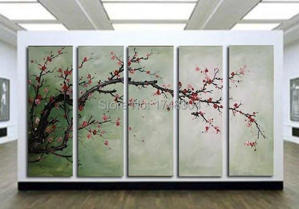Free Shopping 2015 New Style Beauty Flowers Sunsets Within Colors 5 Panels A Lot Wall Art Pictures Canvas Printed Wall Art work(China (Mainland))