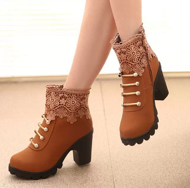 2015 New fashion Autumn Winter Women Martin Boots High Quality Solid Lace-up European Ladies Leather Fashion Boots A462(China (Mainland))