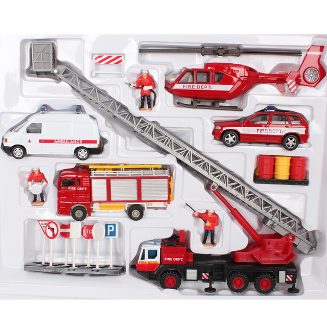 free shipping Set combination of helicopter aerial ladder fire truck alloy car model toy car toy