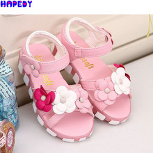 2016 children summer open-toed sandals Girls princess flower shoes kids flat Sandals babay Shoes wholesale for 4-12 years SN0118(China (Mainland))