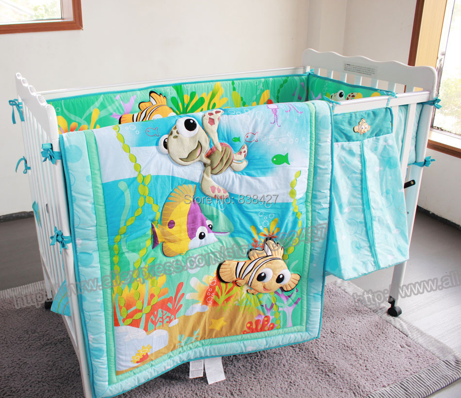 fish ocean Baby Bedding Set Cot Crib Bedding Set for girls boys includes cuna Quilt baby bed bumper Sheet Skirt(China (Mainland))
