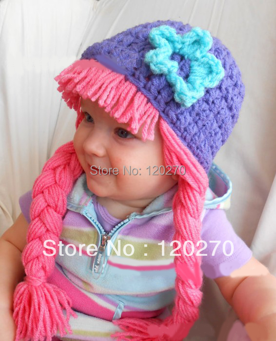 Free Shipping Handmade Crochet Baby Girls Knitted Hat Newborn Infants Toddlers Flower Headwear Children's Beanie Earflaps Cotton(China (Mainland))