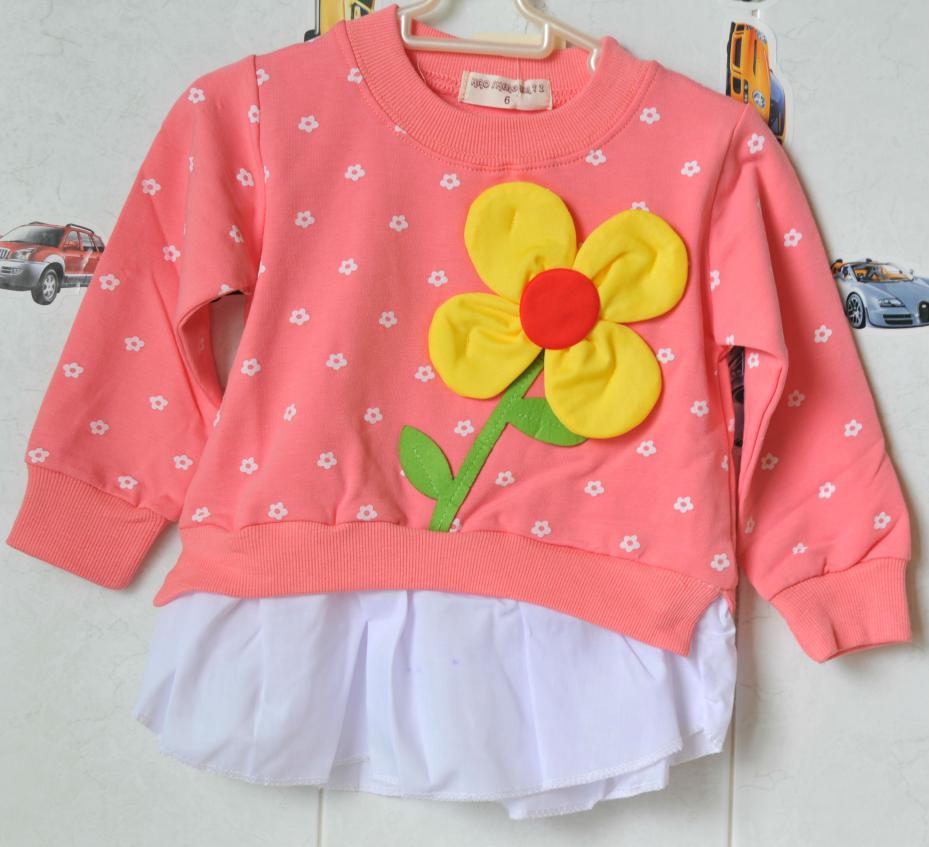 2015 new brand girl dress summer style kids dresses for girls costume for children polo girl long sleeve cotton clothing flower(China (Mainland))