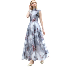 2016 S- XXXL Organza Printed Plus Size Retro Maxi Dress Mandarin Collar Slim Cut Pleat Waist Women Long Dresses Rebe Ete