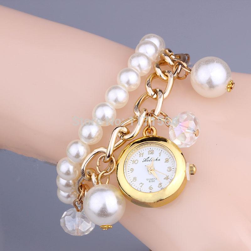 New 2015 Fashion quartz watches casual watch women dress pearls chain bracelets wristwatch gold plated watch christmas gift(China (Mainland))
