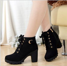 2015 New Autumn Winter Women Boots High Quality Solid Lace-up European Ladies PU Leather Fashion Boots Free Shipping Q214(China (Mainland))