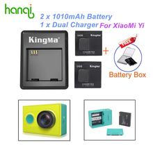 KingMa Xiaomi yi Battery 2PCS 1010mAh Xiaoyi Battery,Xiao Yi Battery Dual Charger For Yi Action Camera Xiaomi Yi Accessories(China (Mainland))
