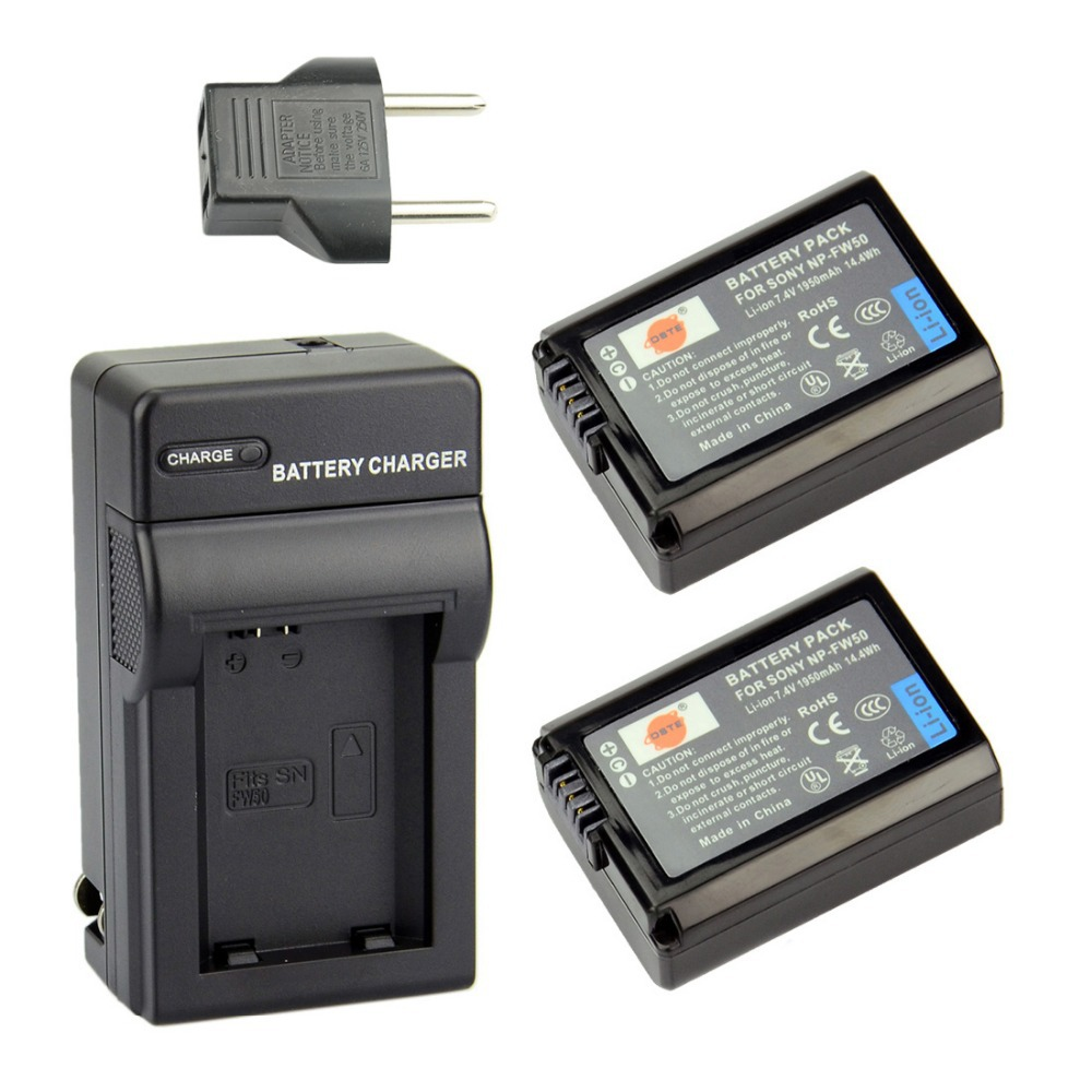 DSTE 2 Pcs 1950 mAh NP FW50 Rechargeable Battery Charger For NEX 5 NEX 5A NEX