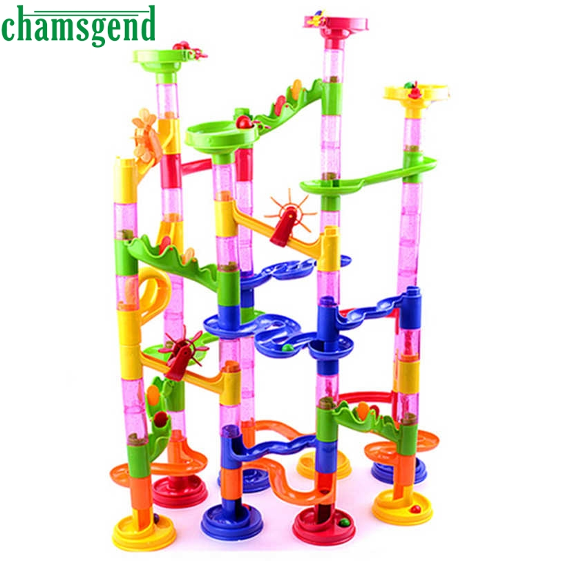 CHAMSGEND 105PCS DIY Construction Marble Race Run Maze Balls Track Building Blocks drop ship S30(China (Mainland))