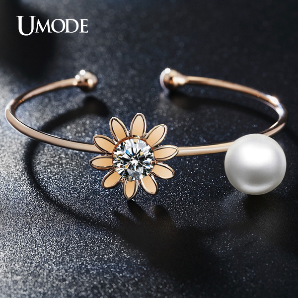 UMODE Prong Setting 2ct Clear CZ Diamond 12mm Simulated Pearl Cuff Bracelets Bangles 18K Rose Gold Plated Jewelry UB0056A(China (Mainland))