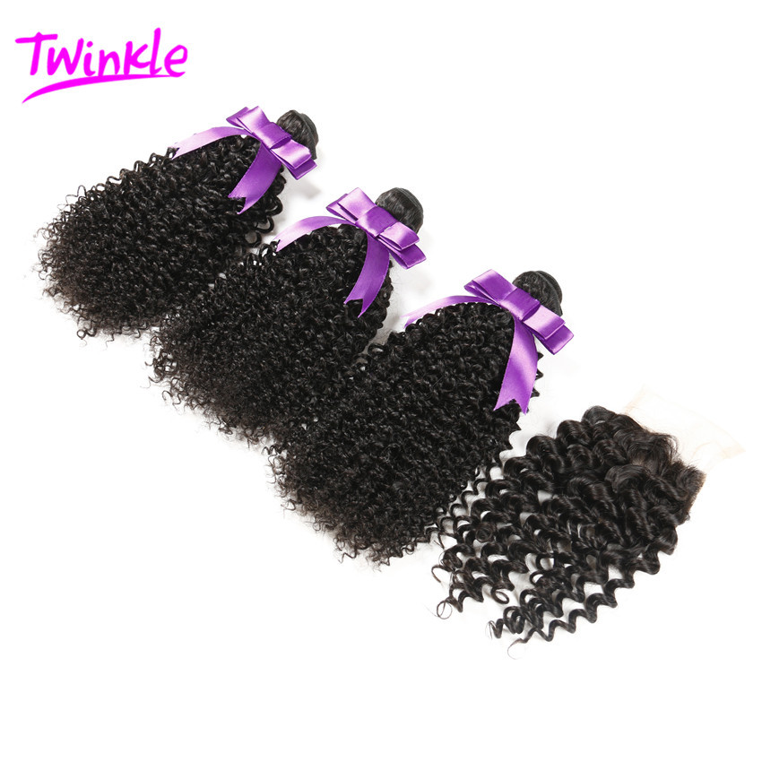 6A Grade Brazilian Virgin Hair With Closure 3 Bundles With Closure Human Hair Weave Brazilian Kinky Curly Wave With Lace Closure