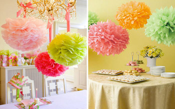Free Shipping nice 10pcs/set  25cm(10inch) Tissue Paper Pom Poms Wedding Party Decor Craft Paper Flower For Wedding Decoration