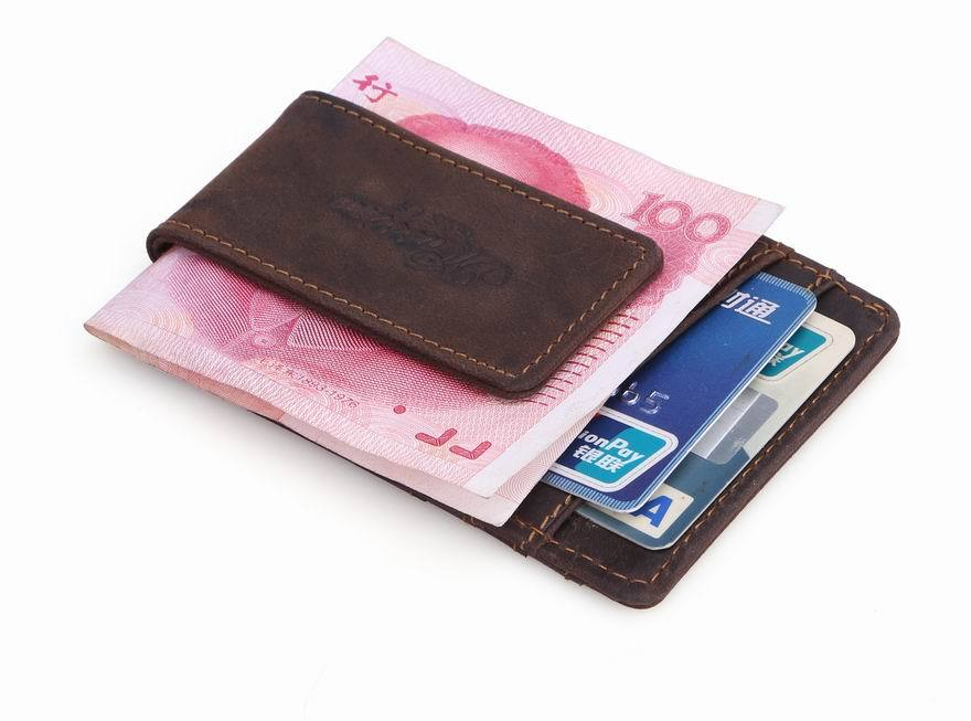 MS Vintage Mens Money Clips Genuine Leather Money Holder with Magnetic Clip Brown Slim Money Clip Wallet with Card ID Case<br><br>Aliexpress