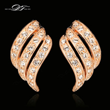 Vintage CZ Diamond Angle's Wings Stud Earrings Wholesale 18K Rose Gold Plated Crystal Fashion Jewelry For Women Earring DFE037(China (Mainland))