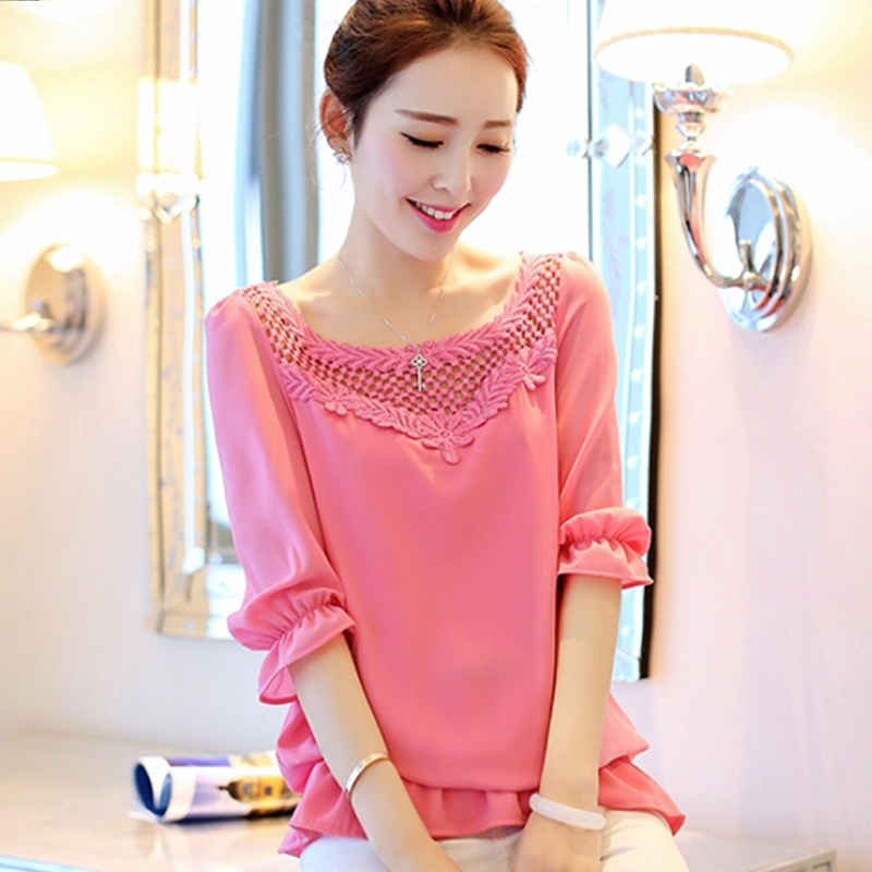 2015 Chiffon Shirt Female Spring Sweet Cutout Loose Elegant Women's - National wind specializes in 1 shop store