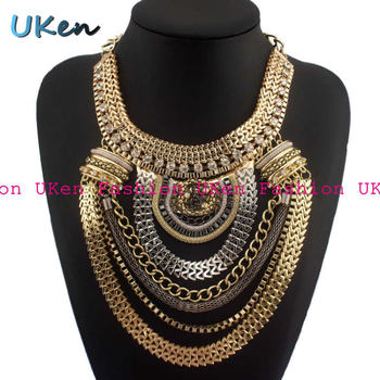 Big Fashion Exaggerated Brand Style Multi-ethnic Women's White K Gold Plated Chains Necklace Evening Dress Jewelry Free Shipping