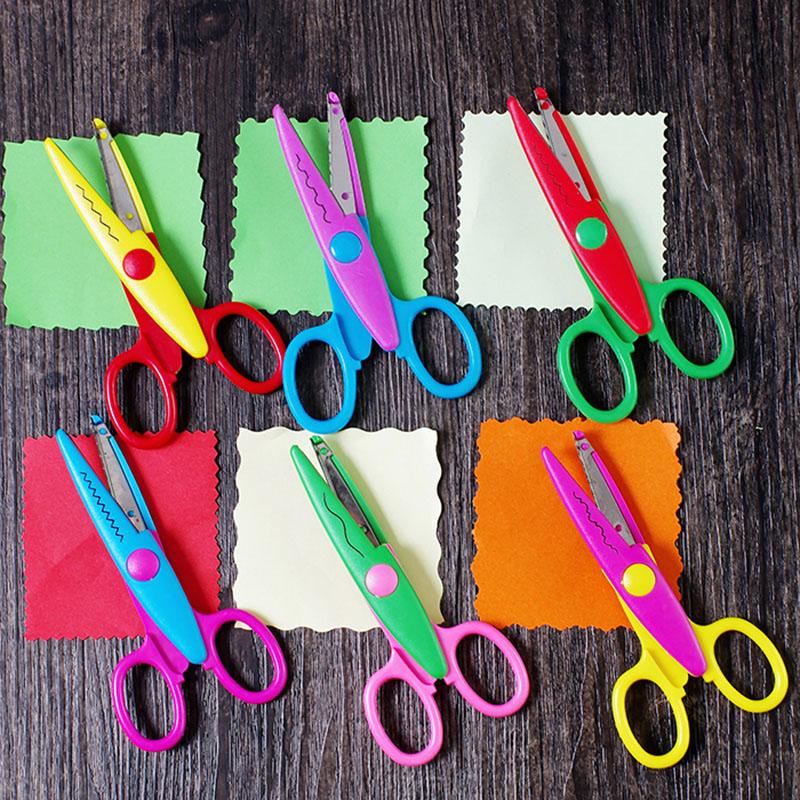 Korean DIY chind handmade Safety tool Laciness Scissors kawaii Scrapbooking Photo Colors Scissor school supplies(China (Mainland))