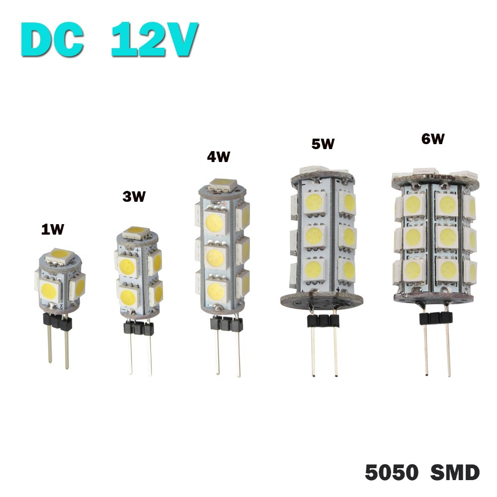DC 12V G4 1W 3W 4W 5W 6W Home Car RV Marine Boat LED Light Bulb Lamp 5 9 13 18 27 leds 5050 SMD 12V Free Shipping(China (Mainland))