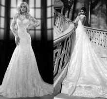 Buy Fashionable Long Sleeve Wedding Dresses 2017 Mermaid Jewel Chapel Train Lace Appliques Open Back Custom Made Bridal Gown for $199.00 in AliExpress store