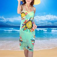 New Arrival Bohemian Women's Chiffon Swimwear Beautiful Bikini Scarf Wrap Cover-ups  Spaghetti Strap Sheer Beach Dress 6 Colors