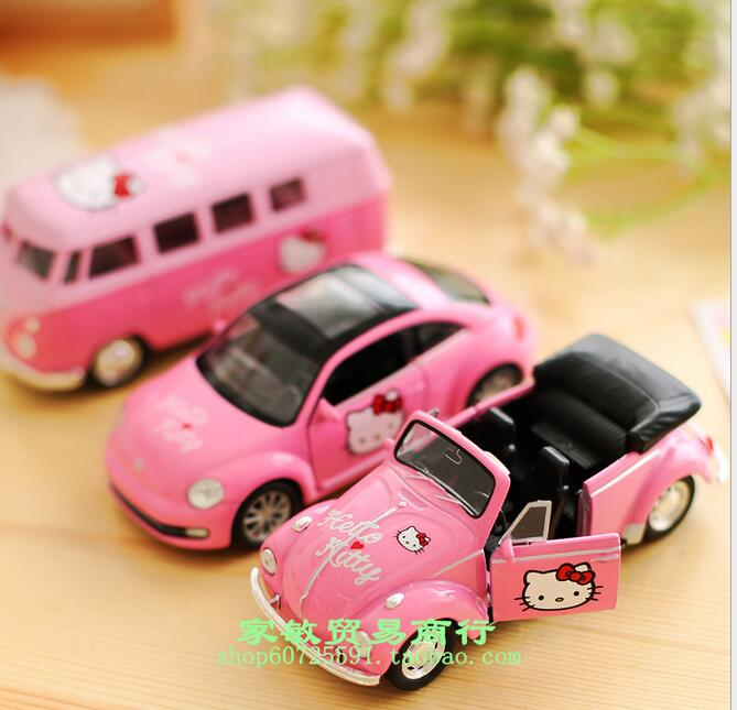 Hello Kitty authentic Korean cartoon car decoration model Beetle Cabriolet toy bus(China (Mainland))
