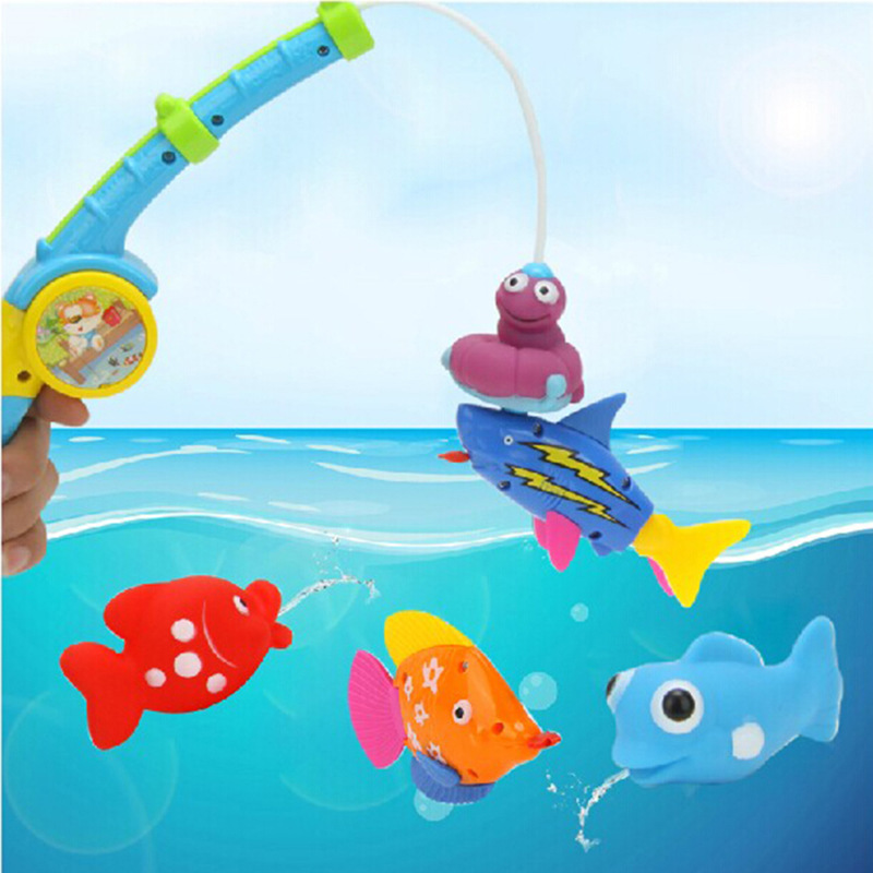 Colorful Joy Fishing Toys Baby Bath Toys Safe Plastic Kids Water Play Toys Free Shipping(China (Mainland))