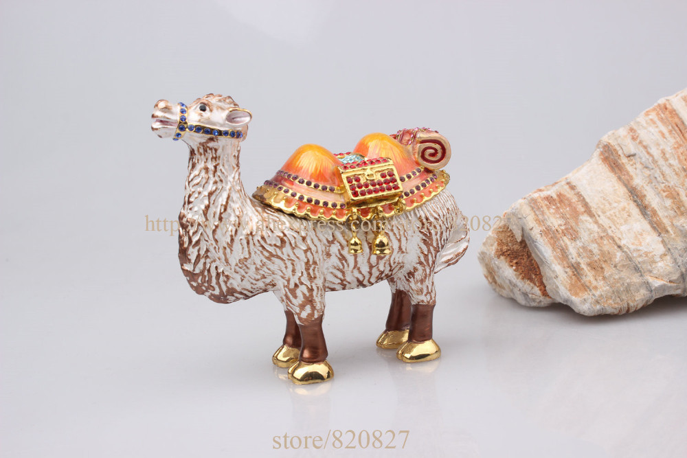 Camel standing box Enamel Figurine with Crystals Trinket Pill Jewelry box Pewter Camal Display craft display boxes