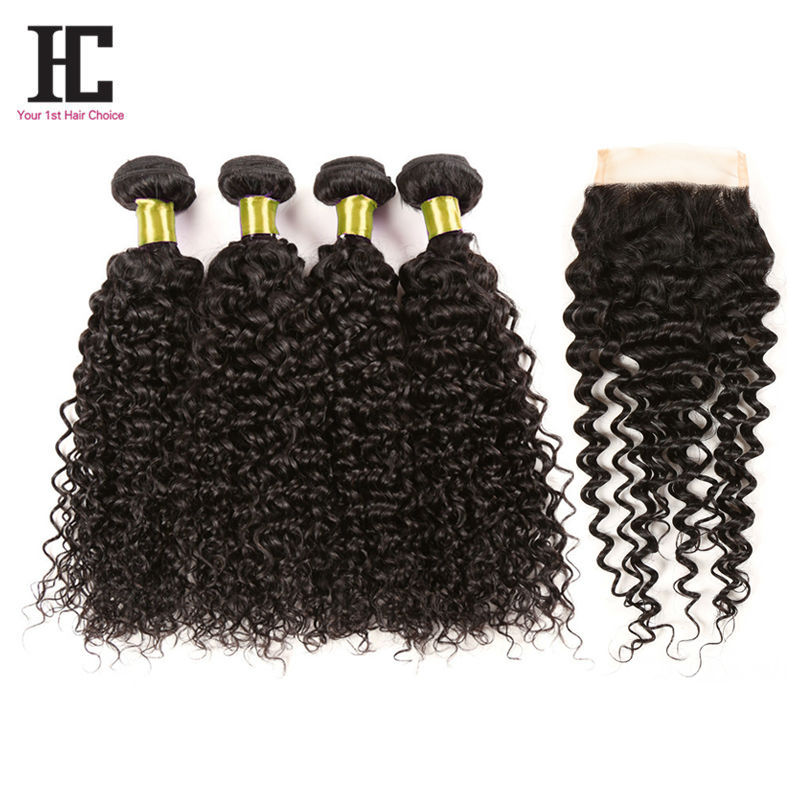 6A Malaysian Curly Hair With Closure 4 bundles With Closure Afro Kinky Curly Hair Natural Black Hair Bundles With Lace Closures <br><br>Aliexpress