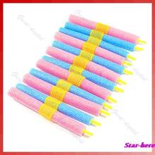 12pcs/set Soft Foam Anion Bendy Hair Rollers Curlers Cling(China (Mainland))