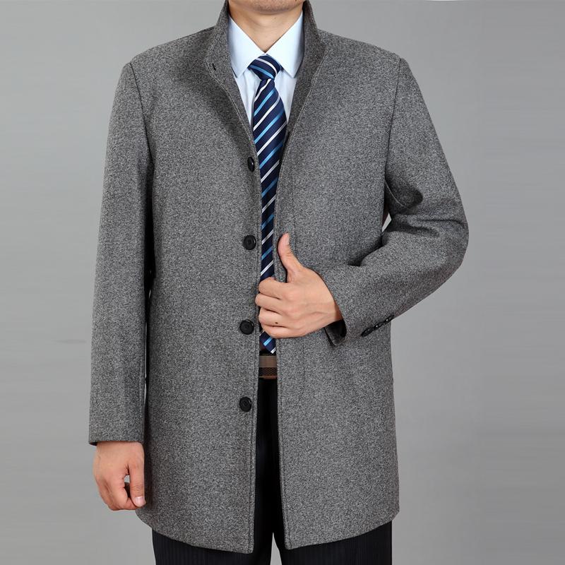 2015 Brand Men's Jacket Business Casual Woolen Overcoat Men Medium-long Cashmere Woolen Overcoat Spring Jacket Coat(China (Mainland))