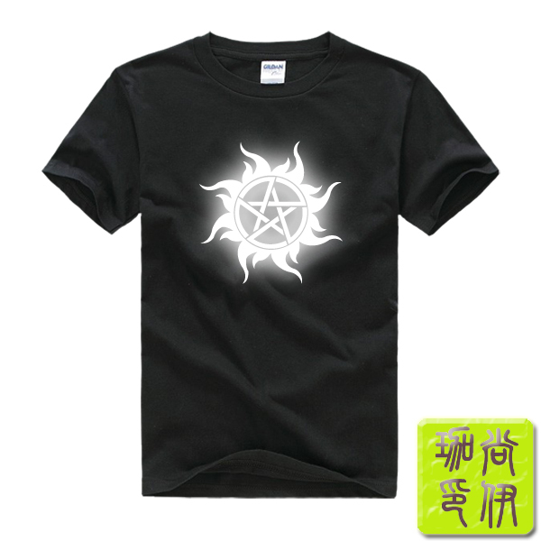American Fierce Ghost Supernatural Supernatural Men's Man Printed T-Shirts T Shirt 2015 Fashion Short Sleeve Cotton Top for Men(China (Mainland))